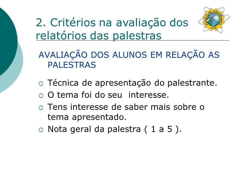 AVALIAÇÃO DOS ALUNOS EM RELAÇÃO AS PALESTRAS Técnica de apresentação do palestrante.