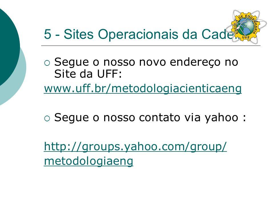 5 - Sites Operacionais da Cadeira Segue o nosso novo endereço no Site da UFF: www.uff.br/metodologiacienticaeng Segue o nosso contato via yahoo : http://groups.yahoo.com/group/ metodologiaeng