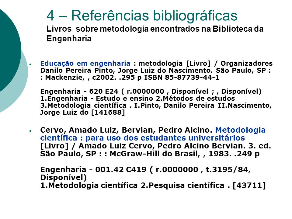 5 – Normalização do Tema Terminologia de documentos técnicos científicos - TB49 -1967 Informação e documentação – referência e elaboração - NBR6023 / NB66 - 08/2002 Apresentação de relatórios técnico- científicos -NBR10719 / NB887 – 08/1989 Informação e documentação – citações em documentos – apresentação - NBR10520/ NB896 -08/2002 Métodos para a análise de documentos – Determinação dos seus assuntos e seleção de seus termos de indexação -NBR12676 - 08/1992 Abreviação na descrição bibliográfica - NBR10522/ NB938 – 10/1988
