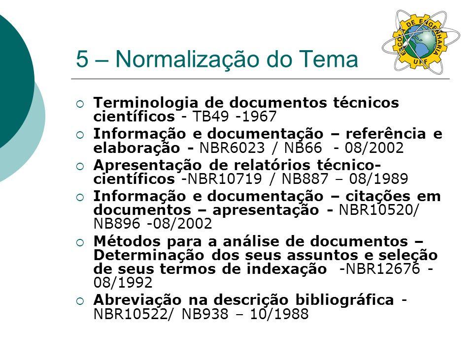 5 – Normalização do Tema Catalogação na publicação de monografias BR12899 -08/1993 Informação e documentação – Trabalhos acadêmicos –Apresentação -NBR14724 - 08/2002 Resumos -NBR6028 – 05/1990 Informação e documentação – livros e folhetos – Apresentação NBR6029NB217- 09/2002 Apresentação de ofício ou carta formato A4 - NBR6030NB311 -05/1980 Catalogação na publicação de monografias -NBR12899 – 08/1993