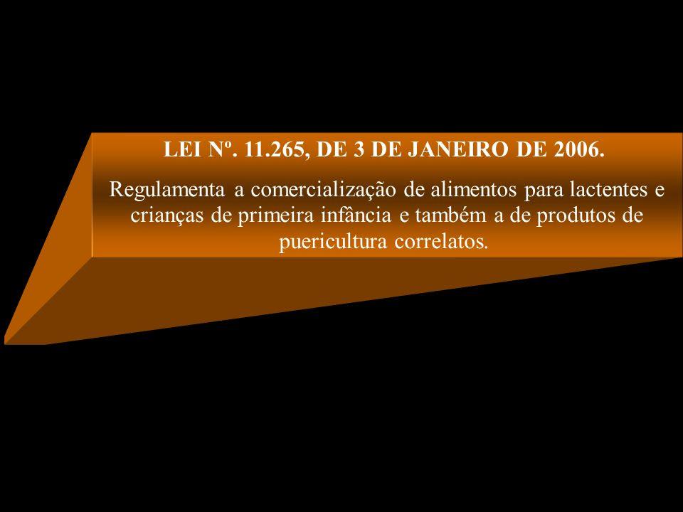 LEI Nº. 11.265, DE 3 DE JANEIRO DE 2006. Regulamenta a comercialização de alimentos para lactentes e crianças de primeira infância e também a de produ