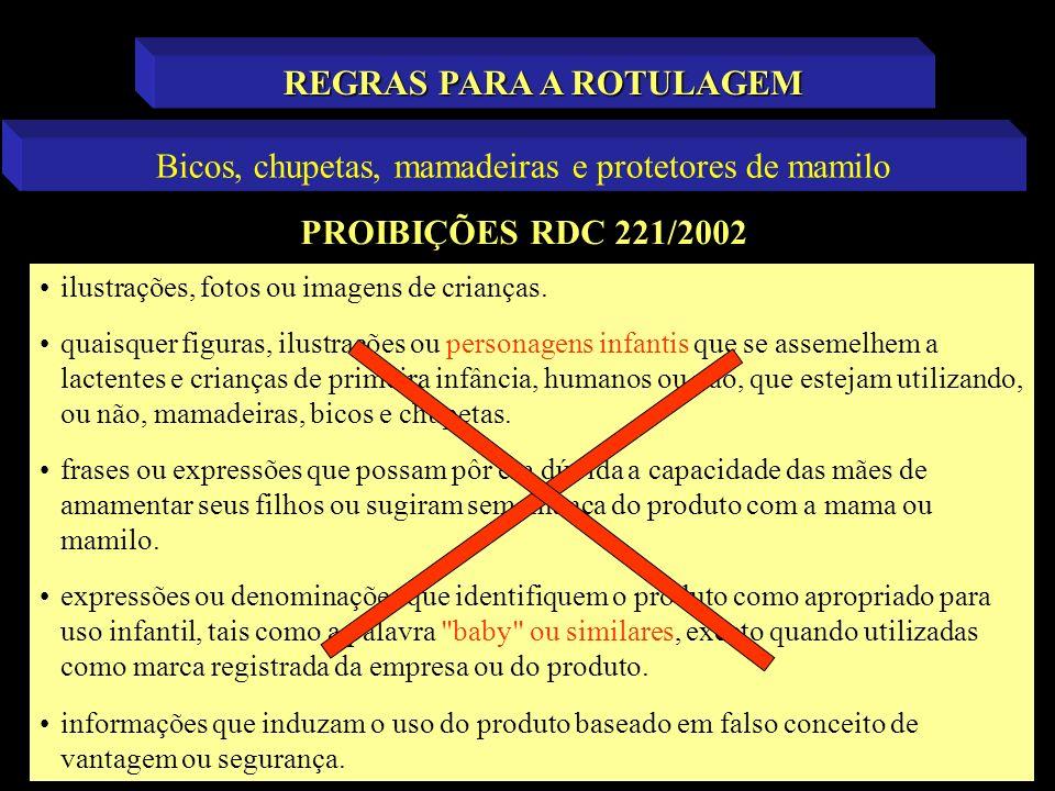 PROIBIÇÕES RDC 221/2002 REGRAS PARA A ROTULAGEM Bicos, chupetas, mamadeiras e protetores de mamilo ilustrações, fotos ou imagens de crianças. quaisque