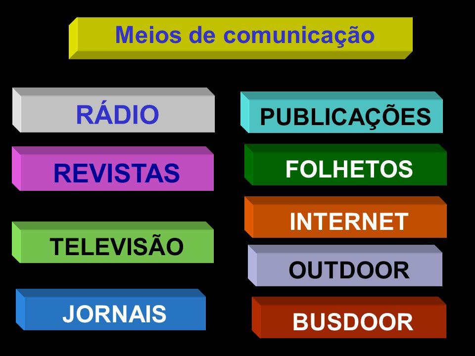 TELEVISÃO RÁDIO REVISTAS FOLHETOS PUBLICAÇÕES INTERNET JORNAIS BUSDOOR Meios de comunicação OUTDOOR