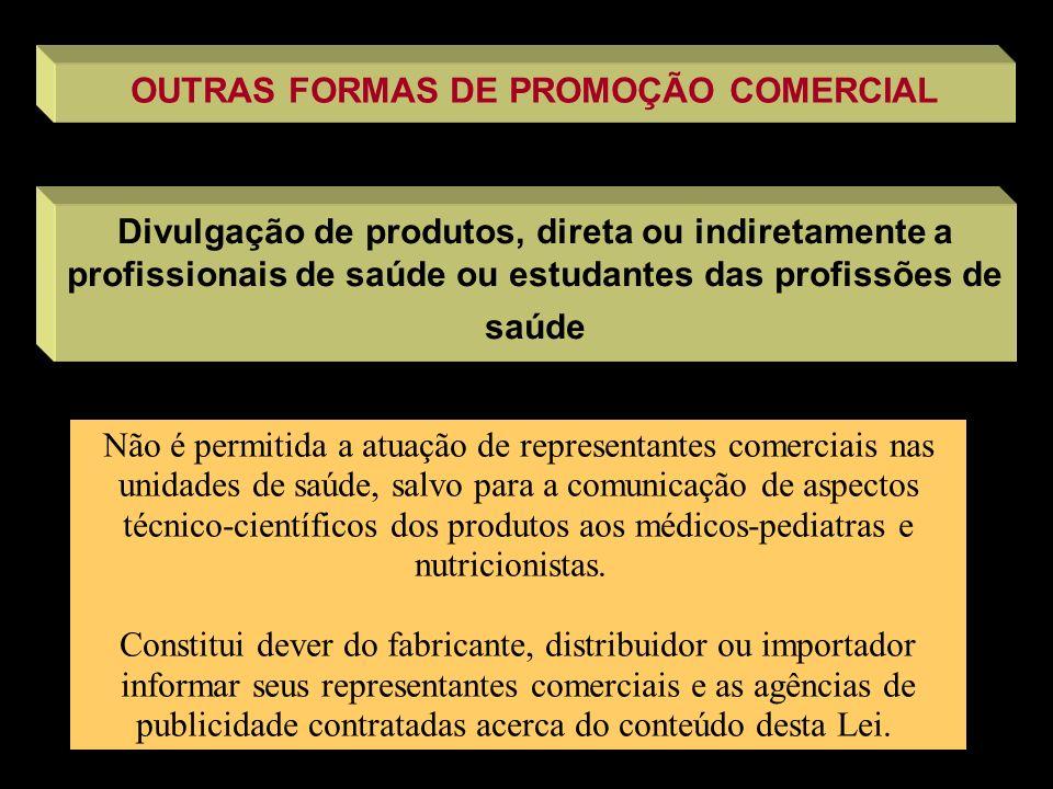 OUTRAS FORMAS DE PROMOÇÃO COMERCIAL Divulgação de produtos, direta ou indiretamente a profissionais de saúde ou estudantes das profissões de saúde Não