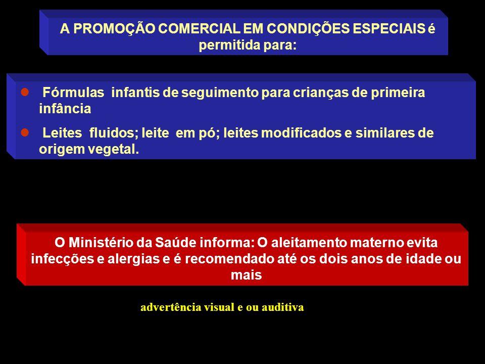 A PROMOÇÃO COMERCIAL EM CONDIÇÕES ESPECIAIS é permitida para: Fórmulas infantis de seguimento para crianças de primeira infância Leites fluidos; leite