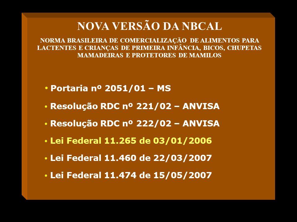 NOVA VERSÃO DA NBCAL NORMA BRASILEIRA DE COMERCIALIZAÇÃO DE ALIMENTOS PARA LACTENTES E CRIANÇAS DE PRIMEIRA INFÂNCIA, BICOS, CHUPETAS MAMADEIRAS E PRO