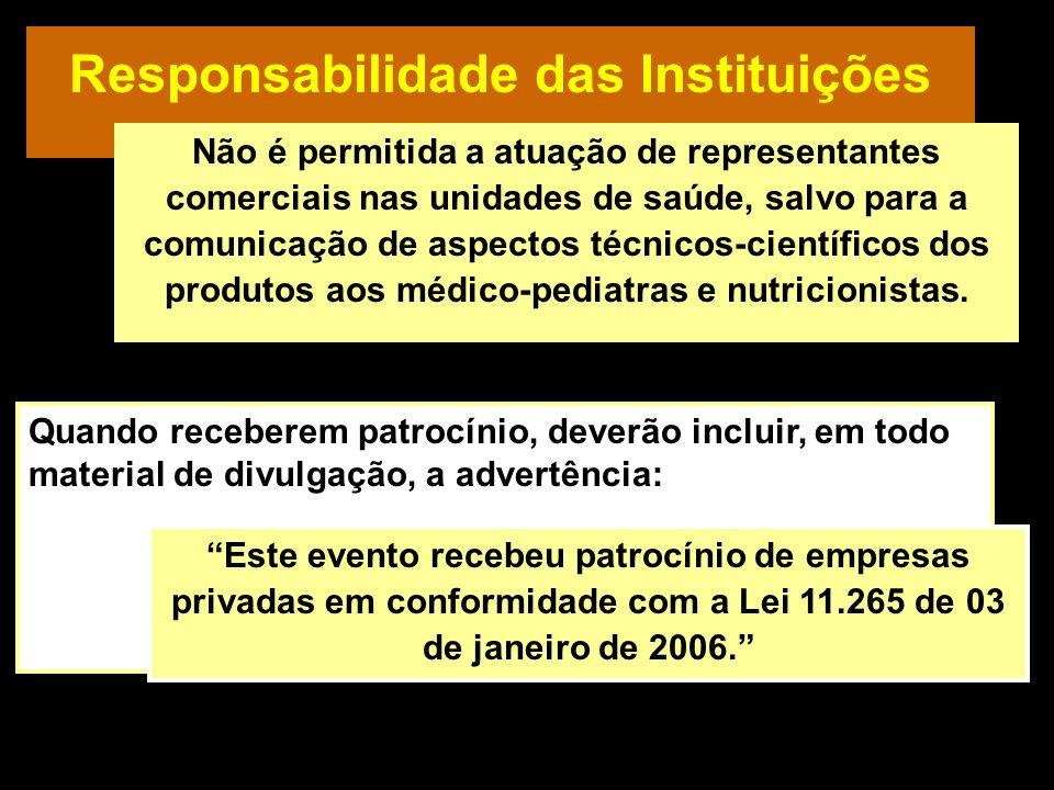 Responsabilidade das Instituições Quando receberem patrocínio, deverão incluir, em todo material de divulgação, a advertência: Este evento recebeu pat