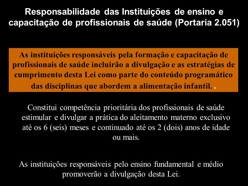 Responsabilidade das Instituições de ensino e capacitação de profissionais de saúde (Portaria 2.051) As instituições responsáveis pela formação e capa
