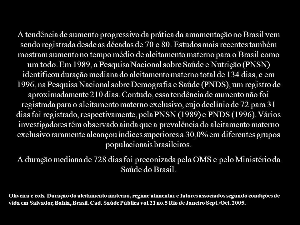 A tendência de aumento progressivo da prática da amamentação no Brasil vem sendo registrada desde as décadas de 70 e 80. Estudos mais recentes também