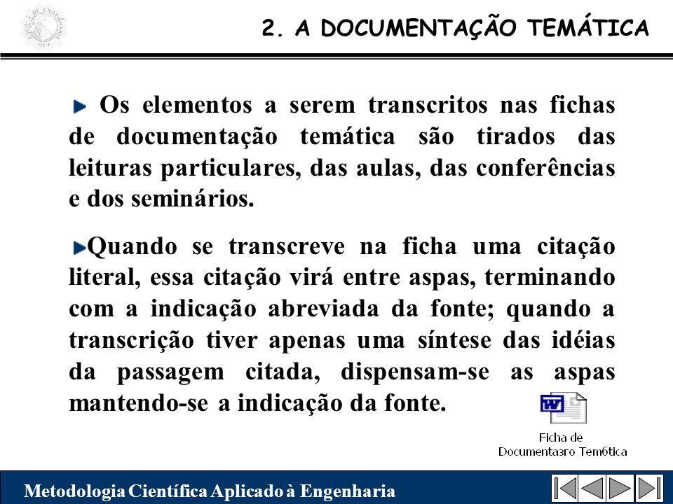 Os elementos a serem transcritos nas fichas de documentação temática são tirados das leituras particulares, das aulas, das conferências e dos seminári