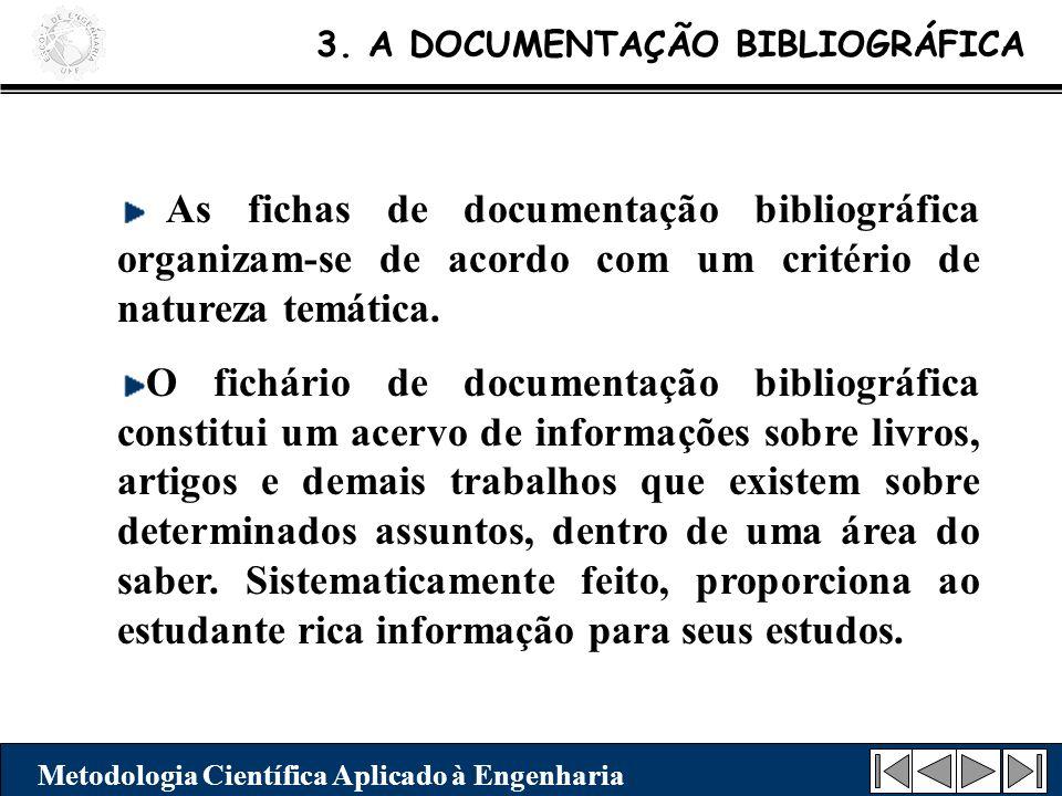 3. A DOCUMENTAÇÃO BIBLIOGRÁFICA Metodologia Científica Aplicado à Engenharia As fichas de documentação bibliográfica organizam-se de acordo com um cri