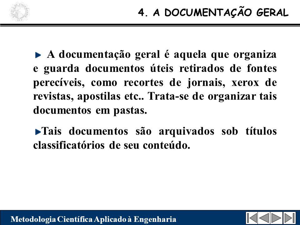4. A DOCUMENTAÇÃO GERAL Metodologia Científica Aplicado à Engenharia A documentação geral é aquela que organiza e guarda documentos úteis retirados de