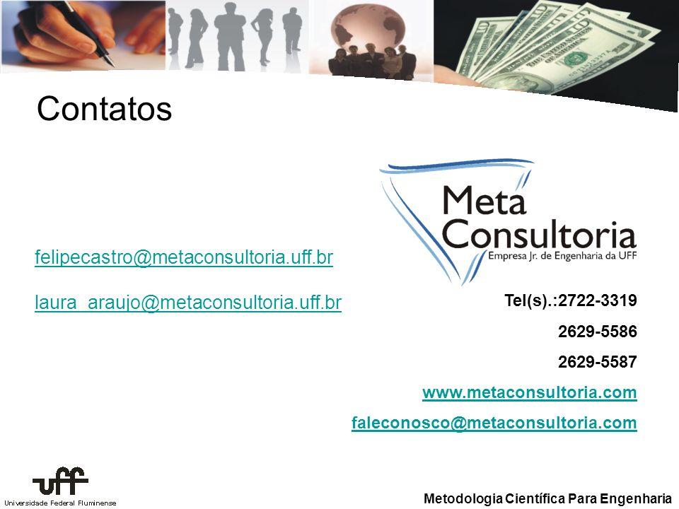 Metodologia Científica Para Engenharia Contatos felipecastro@metaconsultoria.uff.br laura_araujo@metaconsultoria.uff.br Tel(s).:2722-3319 2629-5586 26