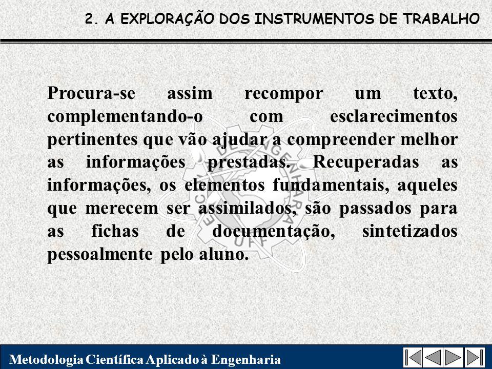 2. A EXPLORAÇÃO DOS INSTRUMENTOS DE TRABALHO Metodologia Científica Aplicado à Engenharia Procura-se assim recompor um texto, complementando-o com esc