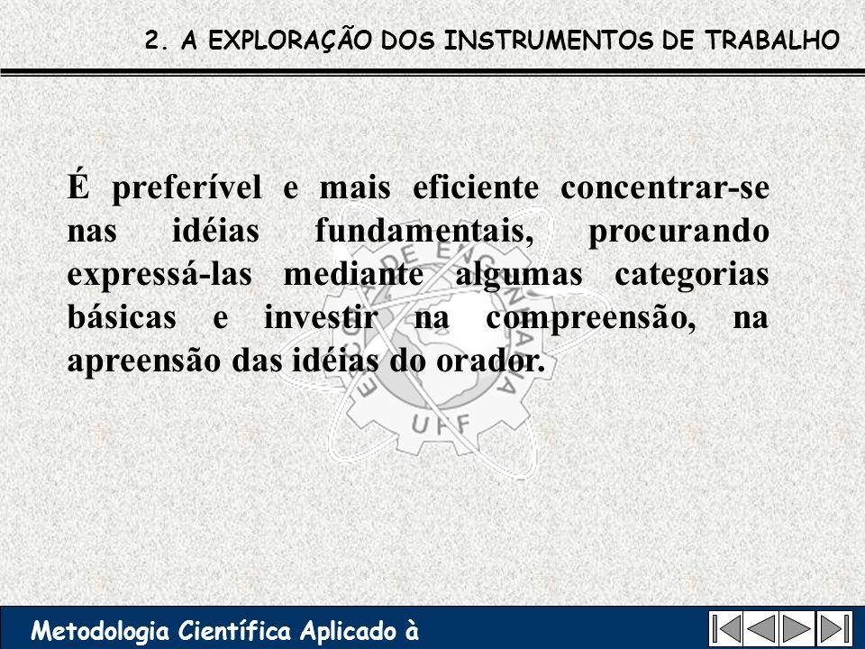 2. A EXPLORAÇÃO DOS INSTRUMENTOS DE TRABALHO Metodologia Científica Aplicado à Engenharia É preferível e mais eficiente concentrar-se nas idéias funda