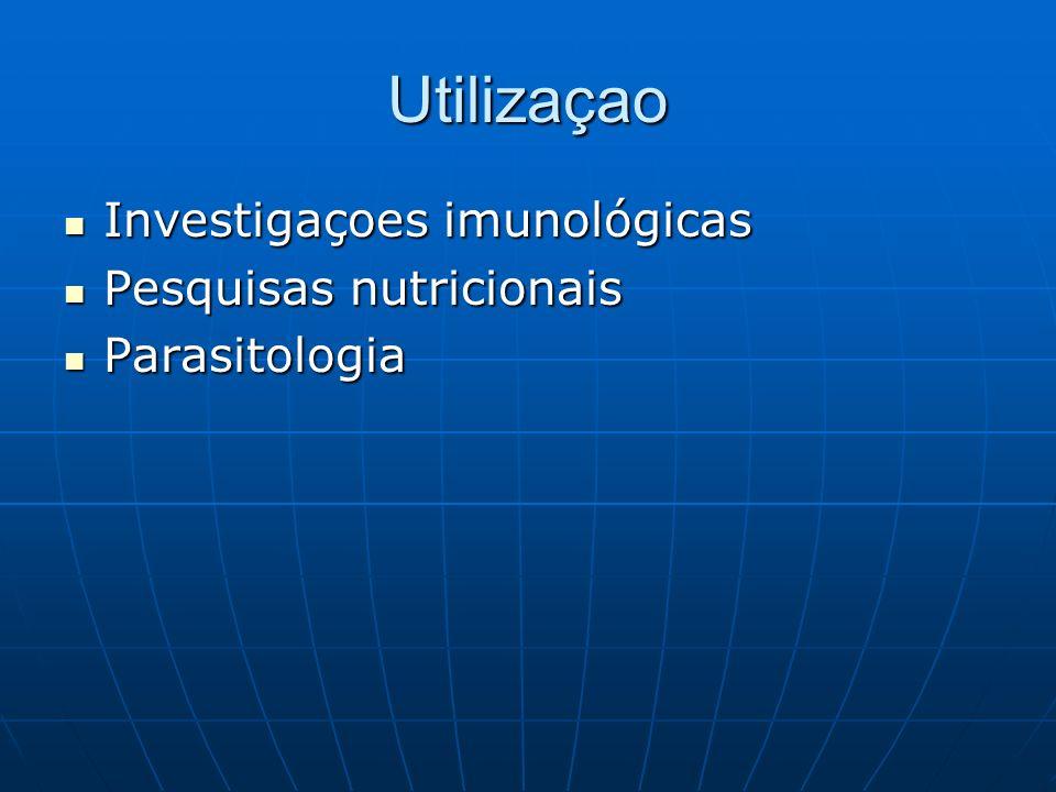 Utilizaçao Investigaçoes imunológicas Investigaçoes imunológicas Pesquisas nutricionais Pesquisas nutricionais Parasitologia Parasitologia