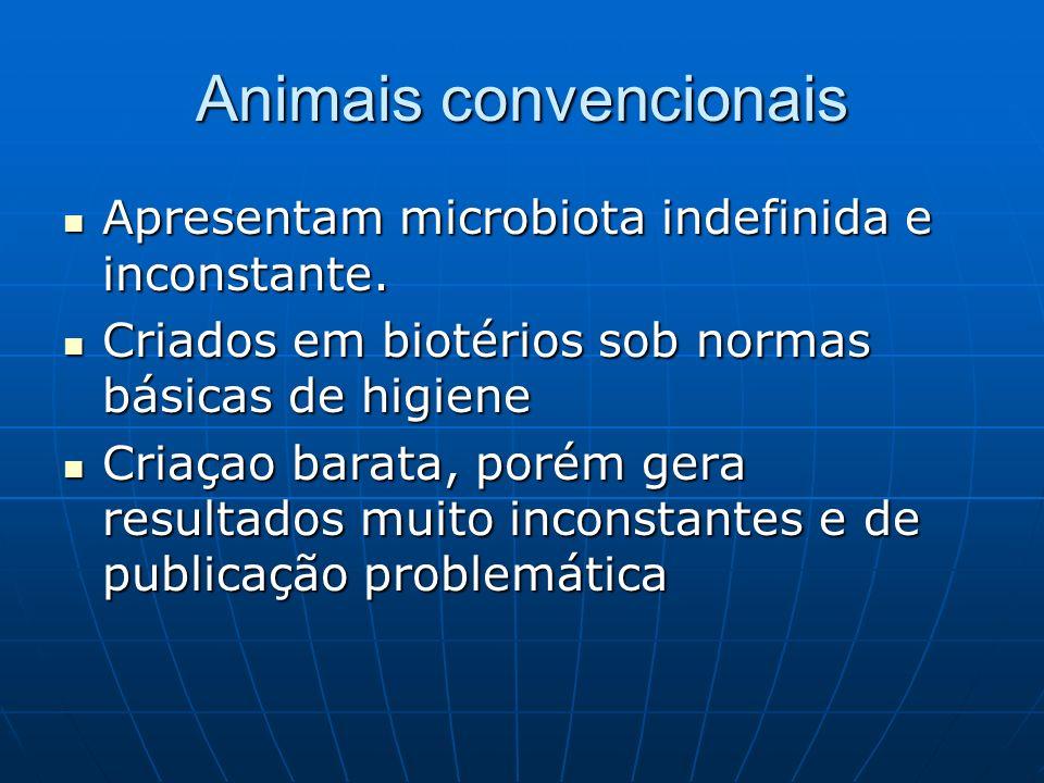 Animais convencionais Apresentam microbiota indefinida e inconstante. Apresentam microbiota indefinida e inconstante. Criados em biotérios sob normas
