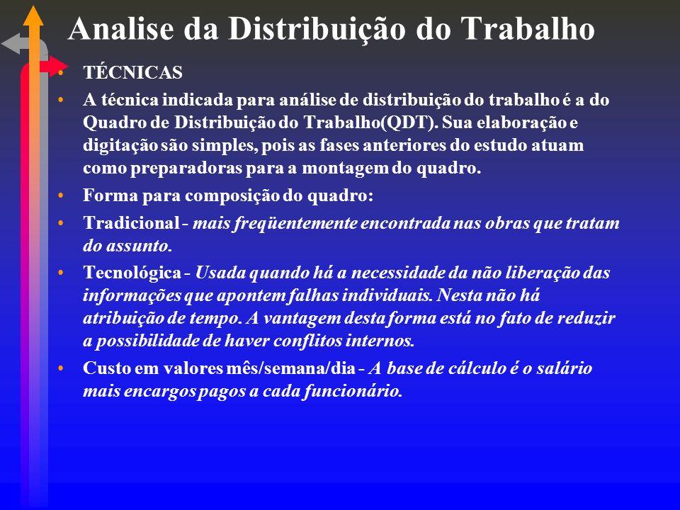 Analise da Distribuição do Trabalho TÉCNICAS A técnica indicada para análise de distribuição do trabalho é a do Quadro de Distribuição do Trabalho(QDT).