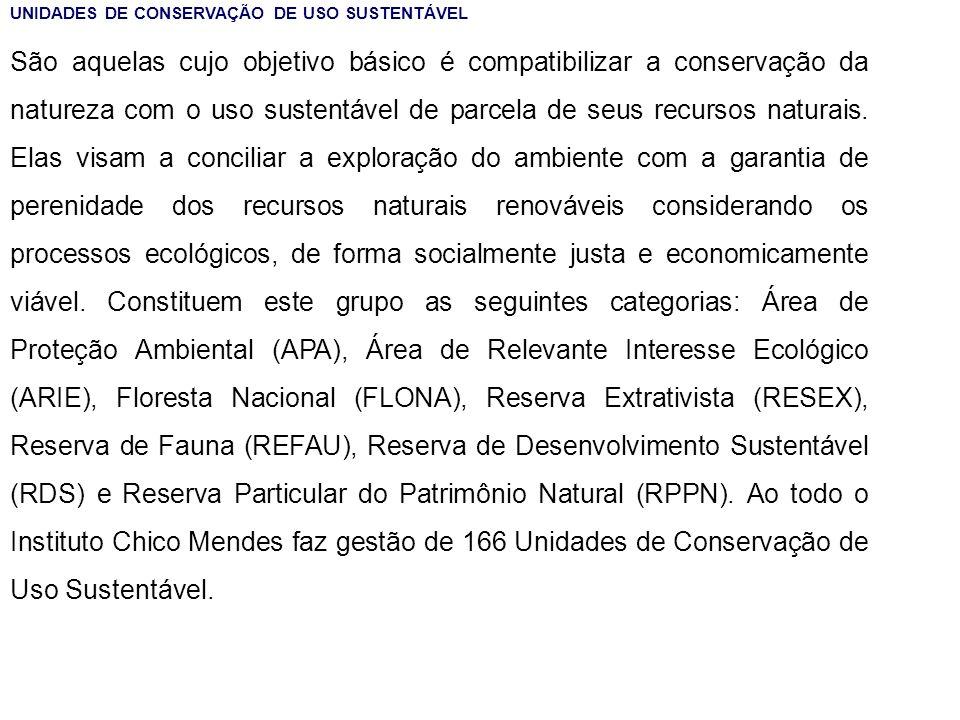 UNIDADES DE CONSERVAÇÃO DE USO SUSTENTÁVEL São aquelas cujo objetivo básico é compatibilizar a conservação da natureza com o uso sustentável de parcel