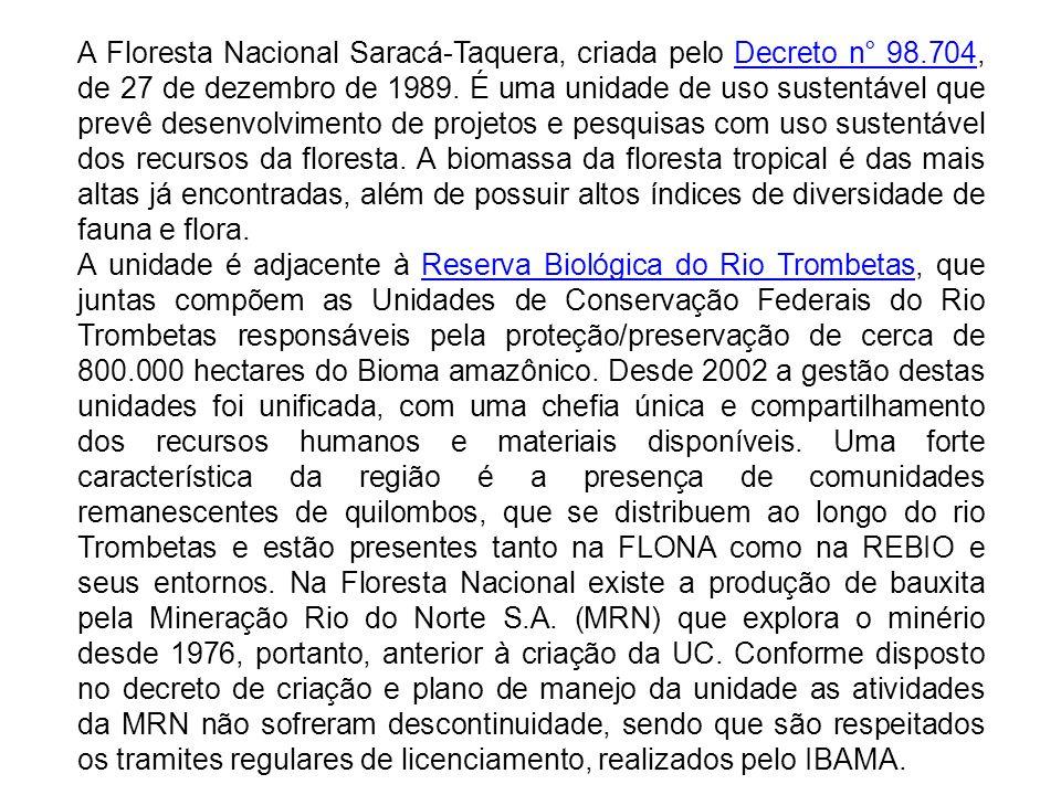 A Floresta Nacional Saracá-Taquera, criada pelo Decreto n° 98.704, de 27 de dezembro de 1989. É uma unidade de uso sustentável que prevê desenvolvimen