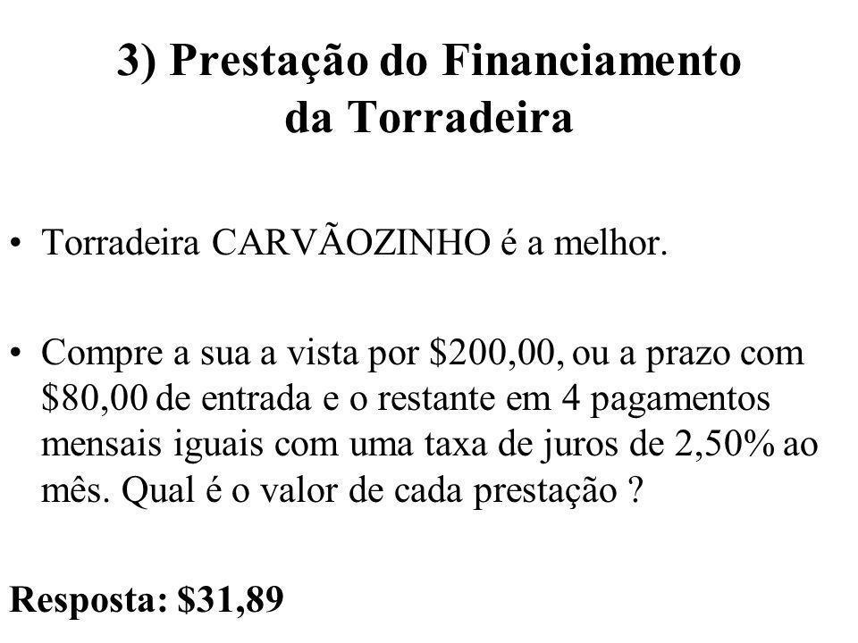 3) Prestação do Financiamento da Torradeira Torradeira CARVÃOZINHO é a melhor. Compre a sua a vista por $200,00, ou a prazo com $80,00 de entrada e o