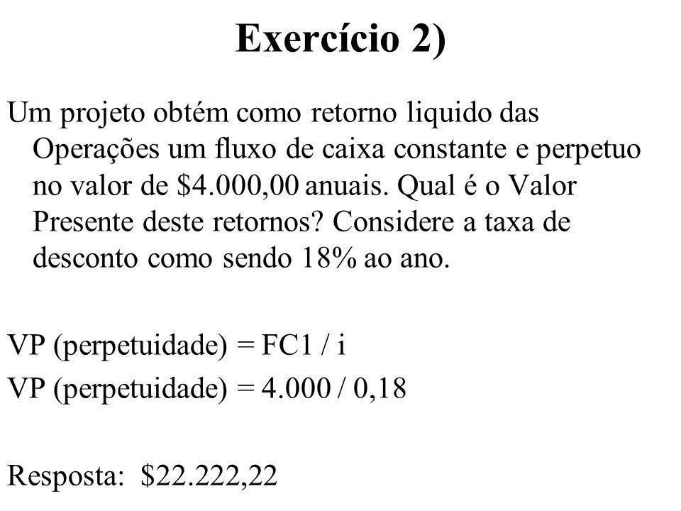 Exercício 2) Um projeto obtém como retorno liquido das Operações um fluxo de caixa constante e perpetuo no valor de $4.000,00 anuais. Qual é o Valor P