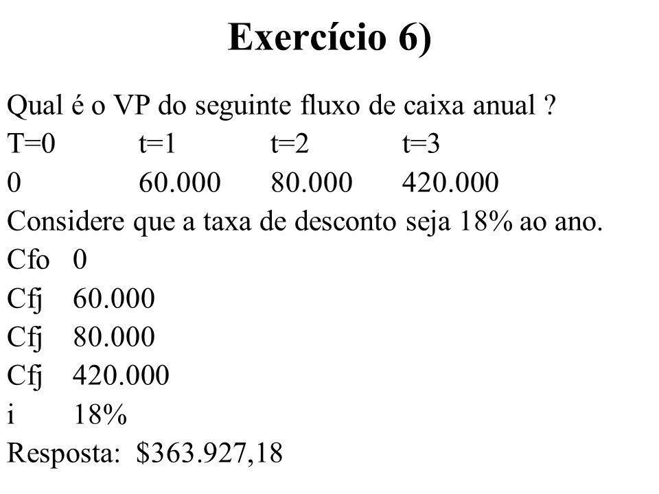 Exercício 6) Qual é o VP do seguinte fluxo de caixa anual ? T=0t=1t=2t=3 0 60.00080.000420.000 Considere que a taxa de desconto seja 18% ao ano. Cfo 0