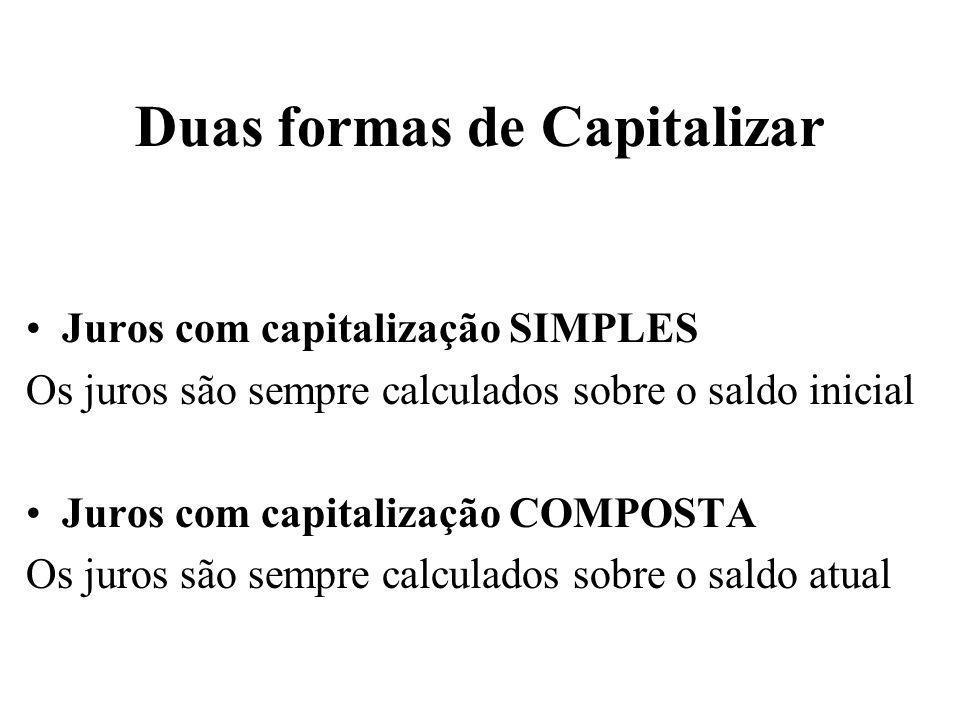 Duas formas de Capitalizar Juros com capitalização SIMPLES Os juros são sempre calculados sobre o saldo inicial Juros com capitalização COMPOSTA Os ju