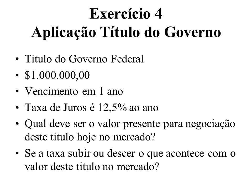 Exercício 4 Aplicação Título do Governo Titulo do Governo Federal $1.000.000,00 Vencimento em 1 ano Taxa de Juros é 12,5% ao ano Qual deve ser o valor
