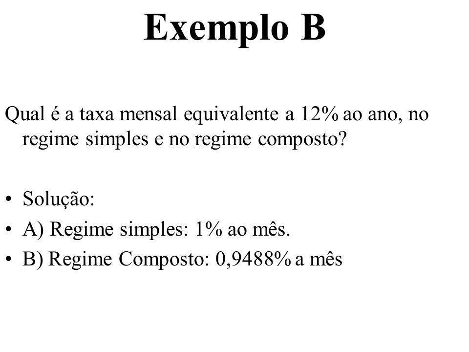 Exemplo B Qual é a taxa mensal equivalente a 12% ao ano, no regime simples e no regime composto? Solução: A) Regime simples: 1% ao mês. B) Regime Comp