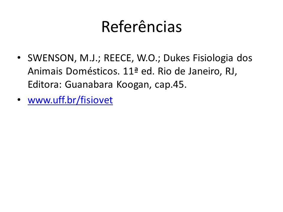 Referências SWENSON, M.J.; REECE, W.O.; Dukes Fisiologia dos Animais Domésticos. 11ª ed. Rio de Janeiro, RJ, Editora: Guanabara Koogan, cap.45. www.uf
