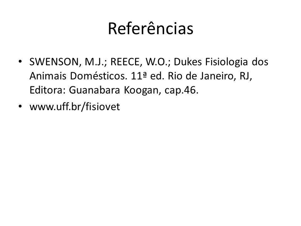 Referências SWENSON, M.J.; REECE, W.O.; Dukes Fisiologia dos Animais Domésticos. 11ª ed. Rio de Janeiro, RJ, Editora: Guanabara Koogan, cap.46. www.uf