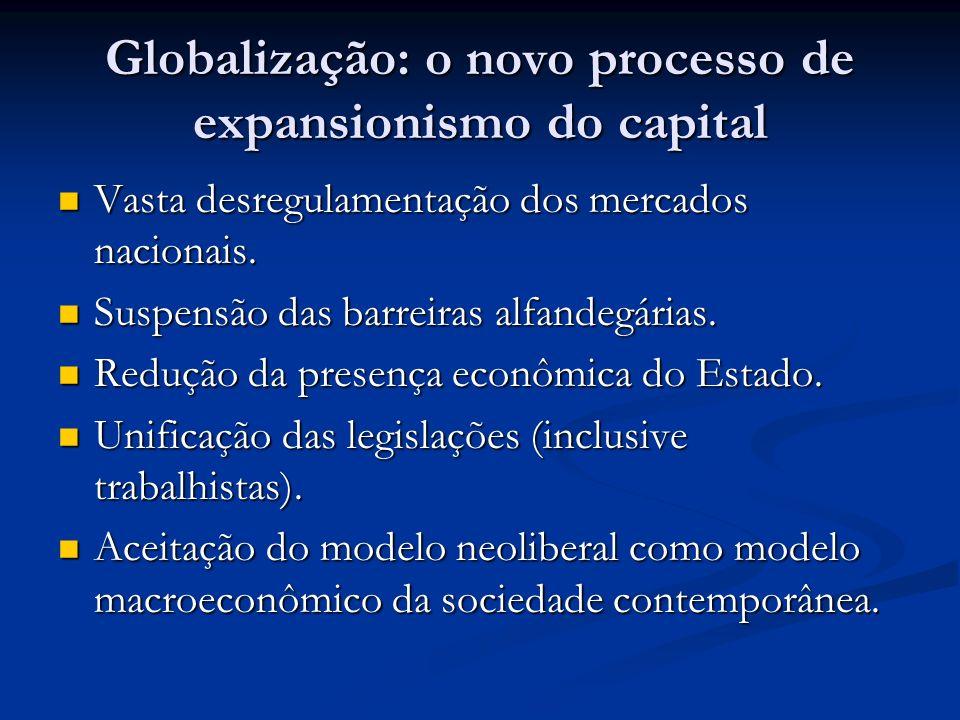 Globalização: o novo processo de expansionismo do capital Vasta desregulamentação dos mercados nacionais. Vasta desregulamentação dos mercados naciona