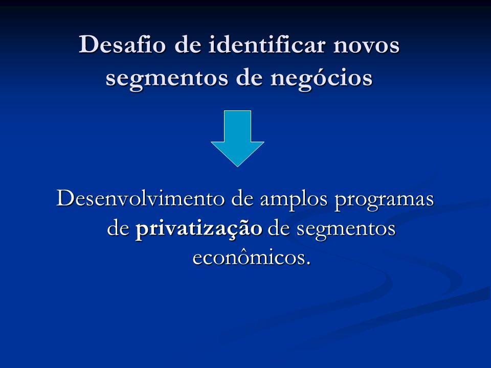 Desafio de identificar novos segmentos de negócios Desenvolvimento de amplos programas de privatização de segmentos econômicos.