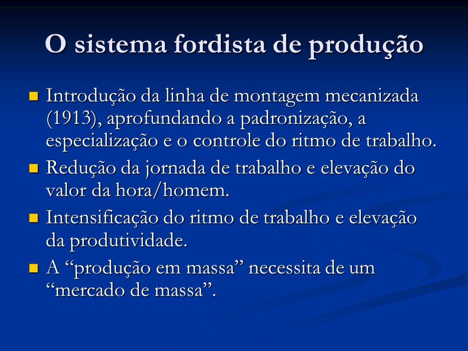 O sistema fordista de produção Introdução da linha de montagem mecanizada (1913), aprofundando a padronização, a especialização e o controle do ritmo