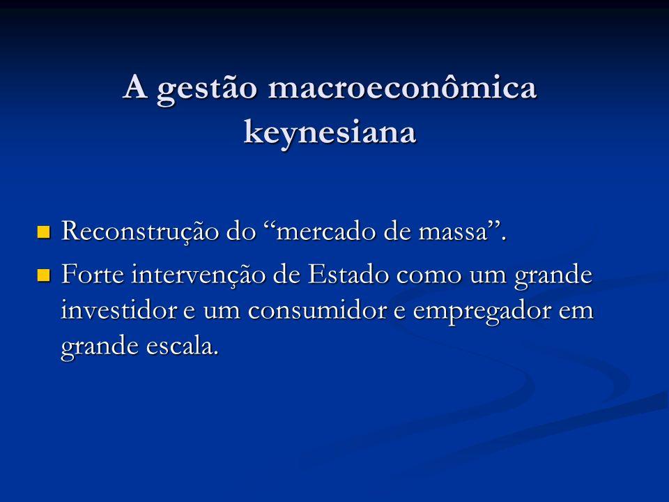 A gestão macroeconômica keynesiana Reconstrução do mercado de massa. Reconstrução do mercado de massa. Forte intervenção de Estado como um grande inve