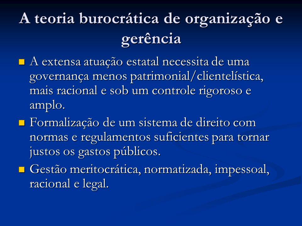 A teoria burocrática de organização e gerência A extensa atuação estatal necessita de uma governança menos patrimonial/clientelística, mais racional e