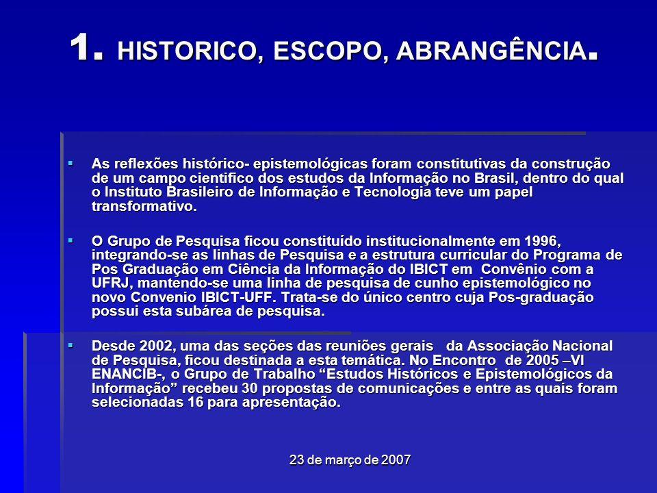 23 de março de 2007 1.HISTORICO, ESCOPO, ABRANGÊNCIA.
