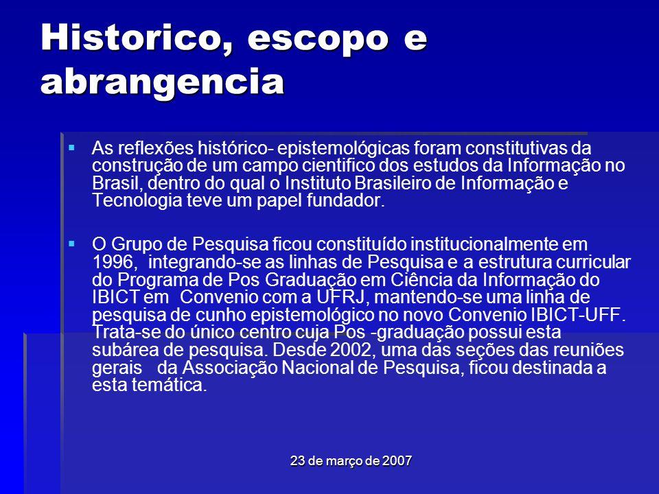 23 de março de 2007 Historico, escopo e abrangencia As reflexões histórico- epistemológicas foram constitutivas da construção de um campo cientifico dos estudos da Informação no Brasil, dentro do qual o Instituto Brasileiro de Informação e Tecnologia teve um papel fundador.