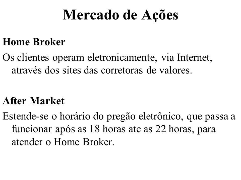 Mercado de Ações Home Broker Os clientes operam eletronicamente, via Internet, através dos sites das corretoras de valores. After Market Estende-se o
