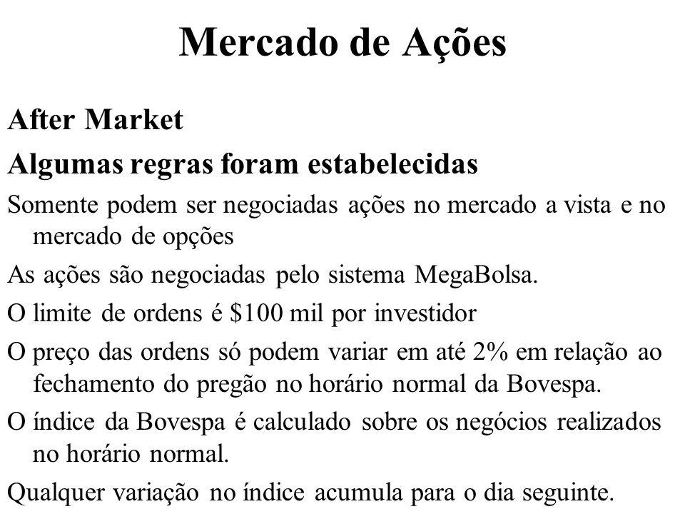 Mercado de Ações After Market Algumas regras foram estabelecidas Somente podem ser negociadas ações no mercado a vista e no mercado de opções As ações