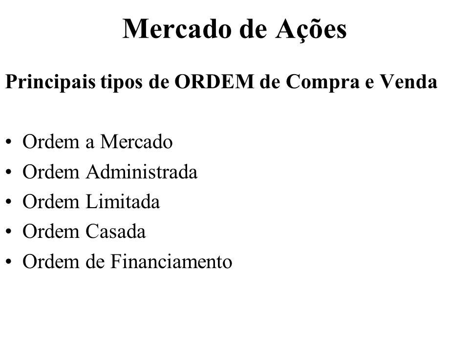 Mercado de Ações Principais tipos de ORDEM de Compra e Venda Ordem a Mercado Ordem Administrada Ordem Limitada Ordem Casada Ordem de Financiamento