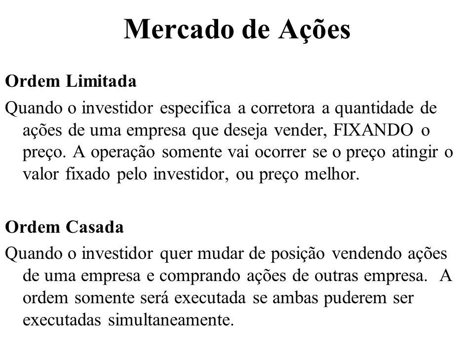 Mercado de Ações Ordem Limitada Quando o investidor especifica a corretora a quantidade de ações de uma empresa que deseja vender, FIXANDO o preço. A