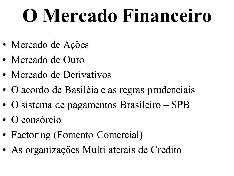 O Mercado Financeiro Mercado de Ações Mercado de Ouro Mercado de Derivativos O acordo de Basiléia e as regras prudenciais O sistema de pagamentos Bras