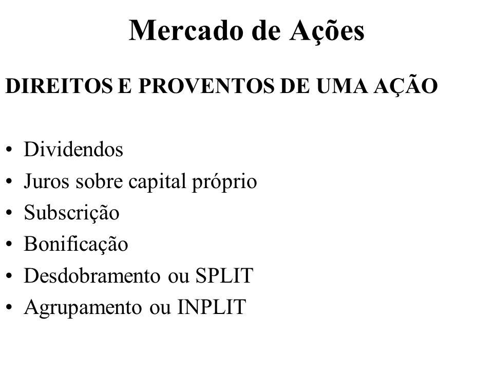 Mercado de Ações DIREITOS E PROVENTOS DE UMA AÇÃO Dividendos Juros sobre capital próprio Subscrição Bonificação Desdobramento ou SPLIT Agrupamento ou