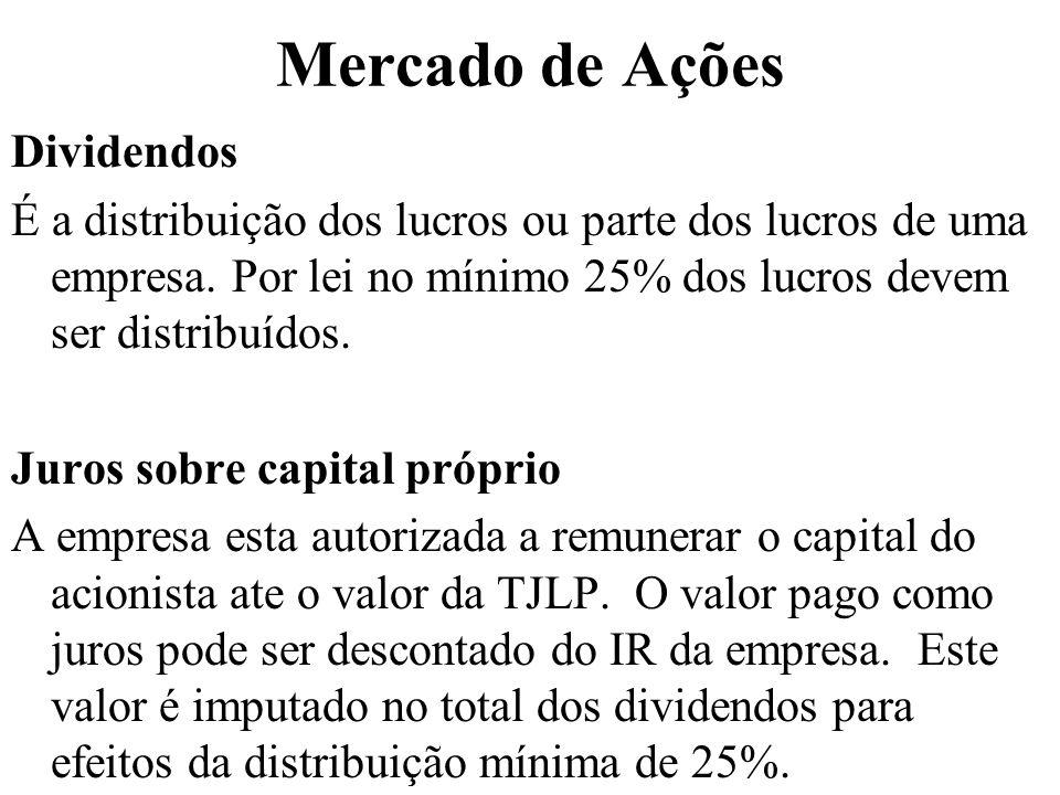 Mercado de Ações Dividendos É a distribuição dos lucros ou parte dos lucros de uma empresa. Por lei no mínimo 25% dos lucros devem ser distribuídos. J