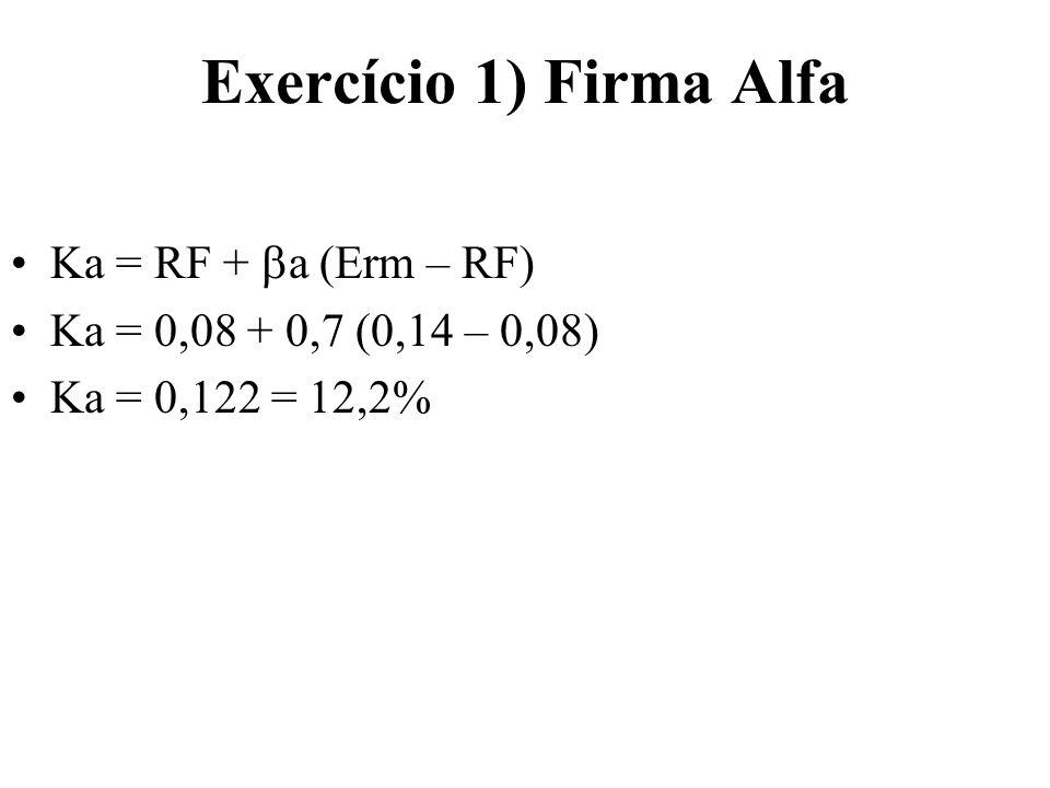 Exercício 1) Firma Alfa Ka = RF + a (Erm – RF) Ka = 0,08 + 0,7 (0,14 – 0,08) Ka = 0,122 = 12,2%
