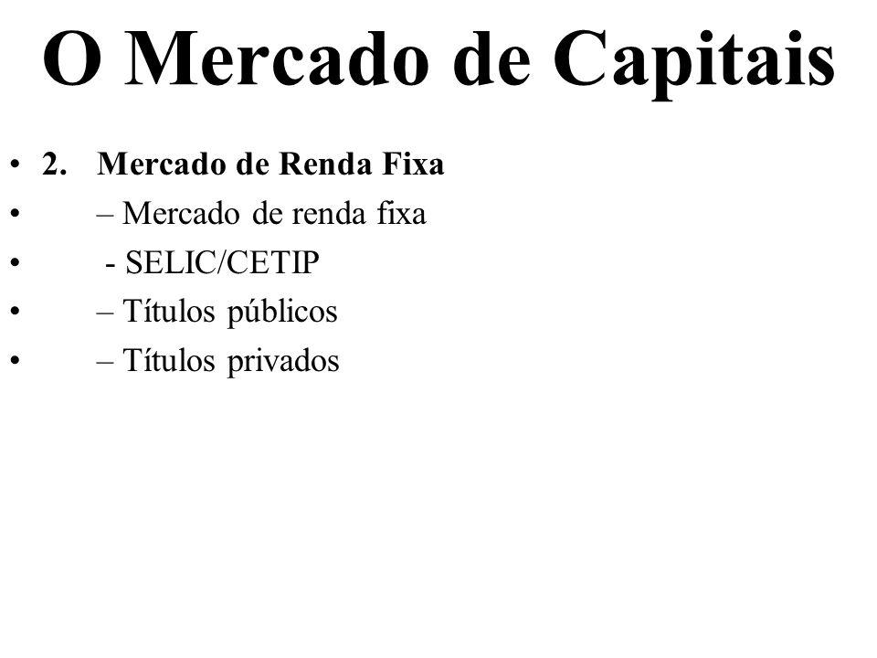 O Mercado de Capitais 2.Mercado de Renda Fixa – Mercado de renda fixa - SELIC/CETIP – Títulos públicos – Títulos privados