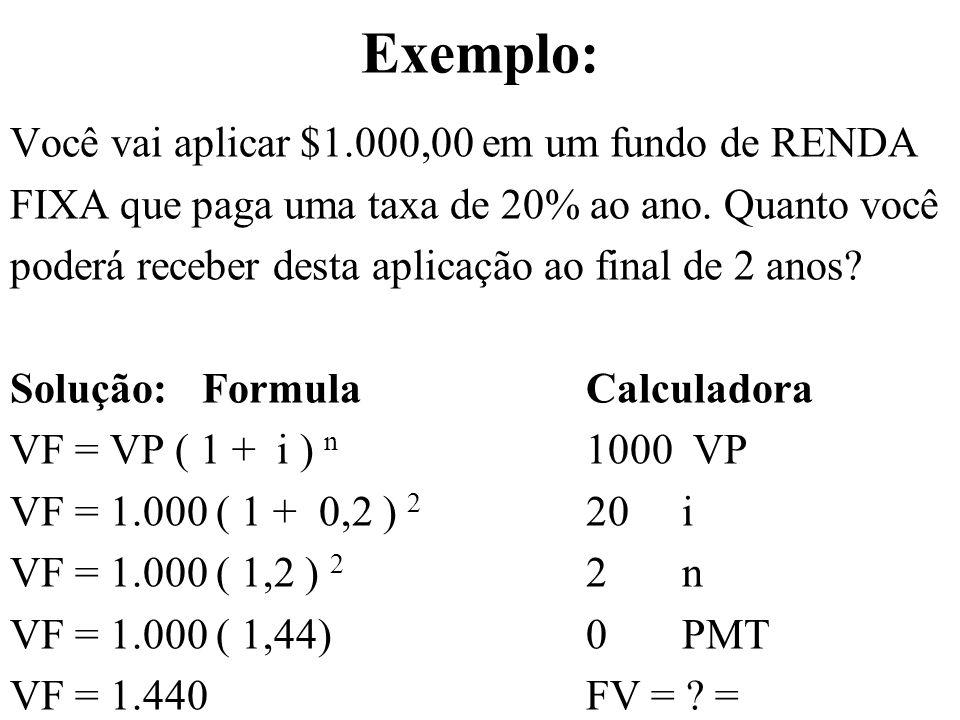 Exemplo: Você vai aplicar $1.000,00 em um fundo de RENDA FIXA que paga uma taxa de 20% ao ano. Quanto você poderá receber desta aplicação ao final de