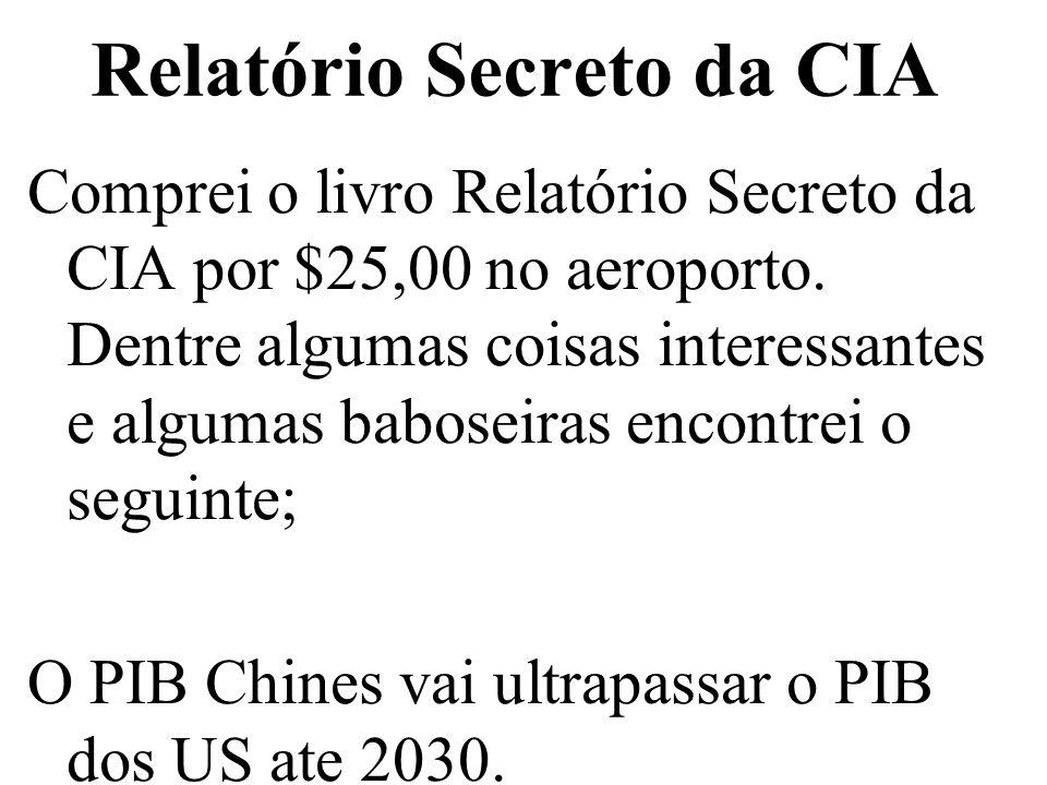 Relatório Secreto da CIA Comprei o livro Relatório Secreto da CIA por $25,00 no aeroporto. Dentre algumas coisas interessantes e algumas baboseiras en